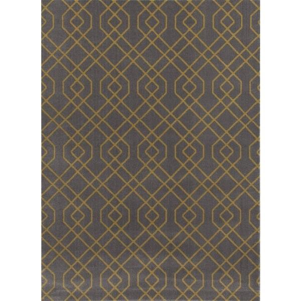 Modern Trellis Design Grey/Yellow Area Rug - 7'10 x 10'2