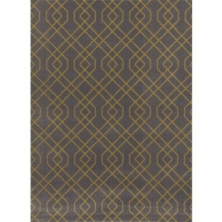 Modern Trellis Design Grey/Yellow Area Rug (7'10 x 10'2)
