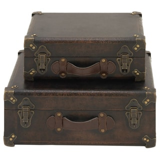 Captivating Wood Leather Trunk Assorted 2
