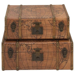 Marvelous Wood Leather Trunk (Set of 2)