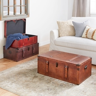 Stunning Wood Leather Trunks (Set of 3)