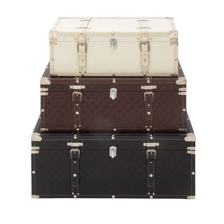 Chic Wood Leather Trunks (Set of 3)