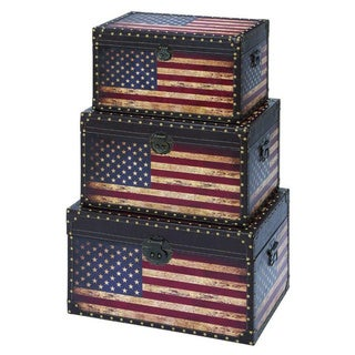 Useful And Spacious Wooden Trunk In American Flag Design (Set of 3)