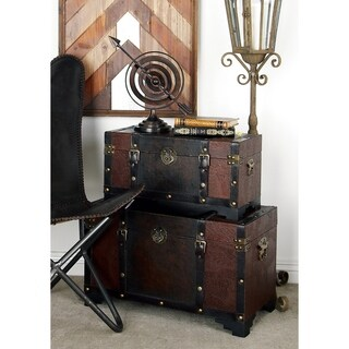 Set of 3 Traditional 20, 24, and 28 Inch Luggage Trunks by Studio 350 - brown