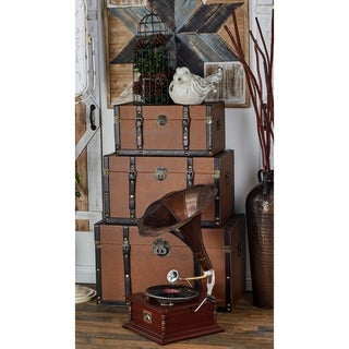 Timeless Designed Wood Leather Trunk (Set of 3)