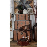Set of 3 Traditional Leather-Covered Wooden Trunks by Studio 350 - brown - N/A