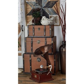 Set of 3 Traditional Leather-Covered Wooden Trunks by Studio 350 - brown