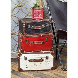 Benzara Wooden And Leather Trunk - Black, Red, White (Set of 3)
