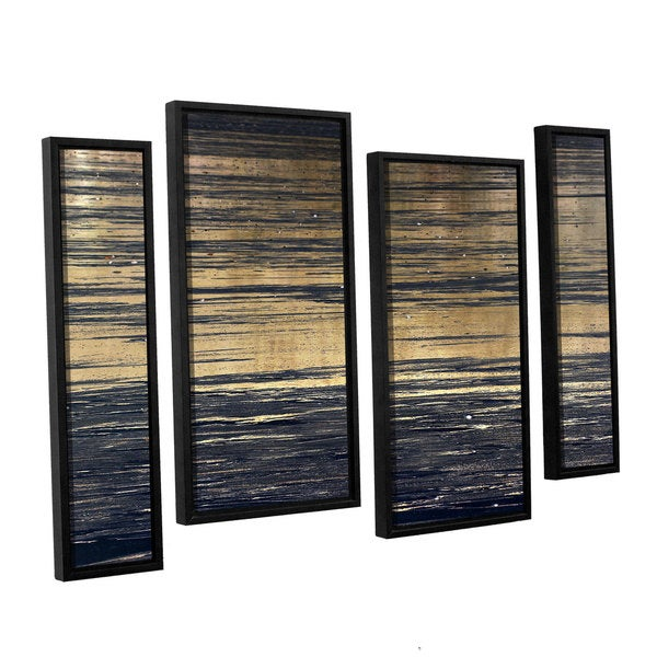Chris Tuff's 'Golden Sand' 4-piece Floater Framed Canvas Staggered Set - Multi