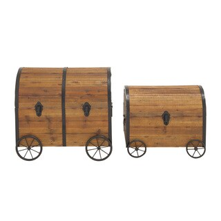 Vintage Themed And Unique Wood Metal Wheel Trunk (Set of 2)