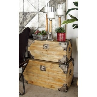 Vintage Appeal Wooden Trunk With Fitted Bolts- (Set of 3)