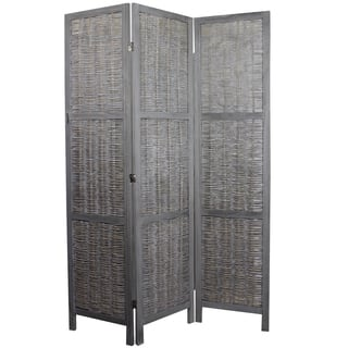 Sophisticated Paulownia Room Divider n Grey Finish By Entrada|https://ak1.ostkcdn.com/images/products/11763969/P18677814.jpg?impolicy=medium