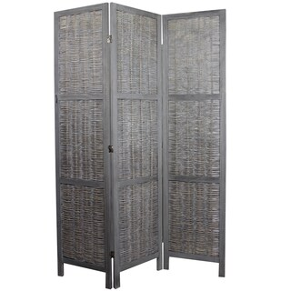 Sophisticated Paulownia Room Divider n Grey Finish By Entrada