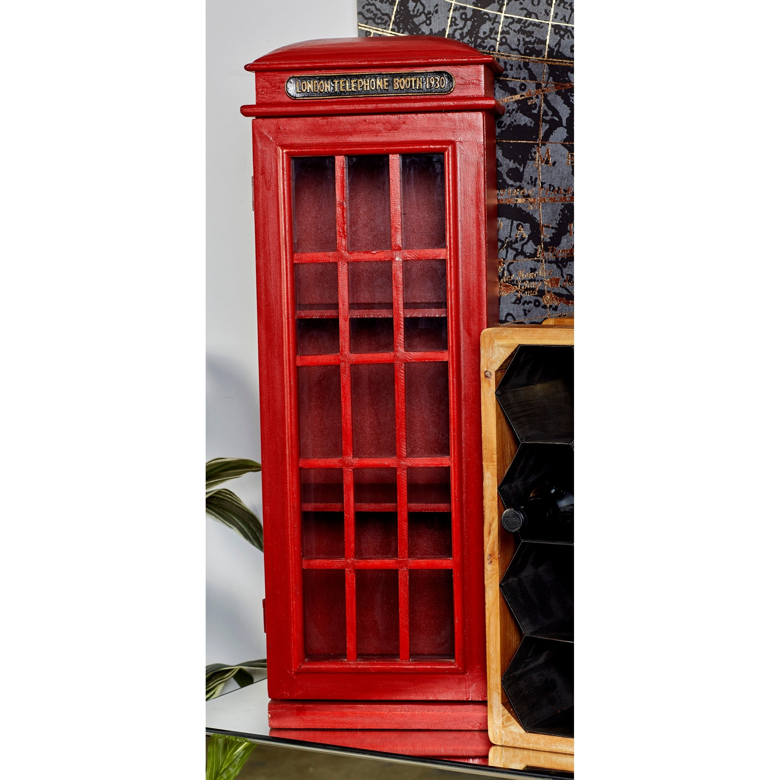 Benzara 95827 London Telephone Red Booth Cd- Dvd Holder Cabinet 30 In.H