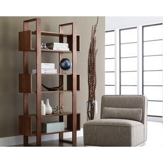 Furniture of america karrise walnut display shelf for Furniture of america nara contemporary 6 shelf tiered open bookcase