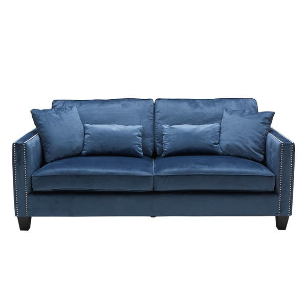 Sunpan Cathedral Ink Blue Sofa Overstock 11764145