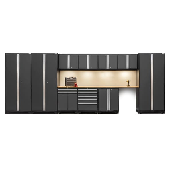 NewAge Pro Series 12 Piece Steel Cabinet Set With Bamboo Worktops