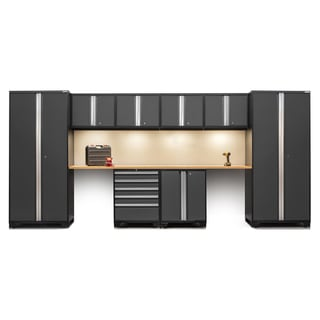 NewAge Pro Series 10-piece Steel Cabinet Set with Bamboo Worktops