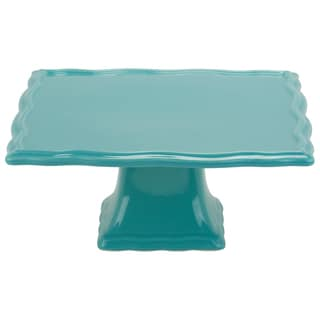 Whittier Turquoise 10-inch Square Cake Stand
