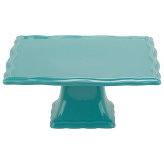 10 Strawberry Street Whittier Turquoise 10-inch Square Cake Stand