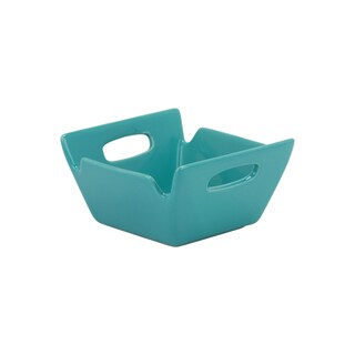 10 Strawberry Street Whittier Set of 6 4-inch Turquoise Square-handled Bowls