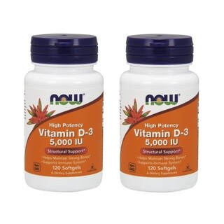 Now Foods 5,000 IU Vitamin D-3 (120 Softgels)