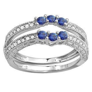 14k White Gold 5/8ct TDW Diamond and Round Blue Sapphire Wedding Band Enhancer Guard (H-I, I1-I2)
