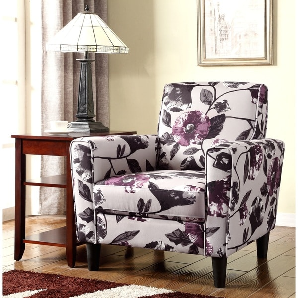 Shop Modern Flower Pattern Fabric Accent Arm Chair Free