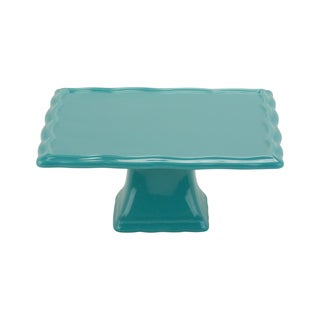 Whittier Set of 2 Turquoise 8-inch Square Cake Stands