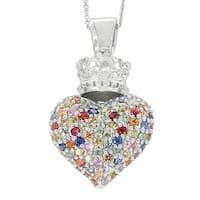 Sterling Silver 5ct TGW Multi shappire Heart Pendant Necklace