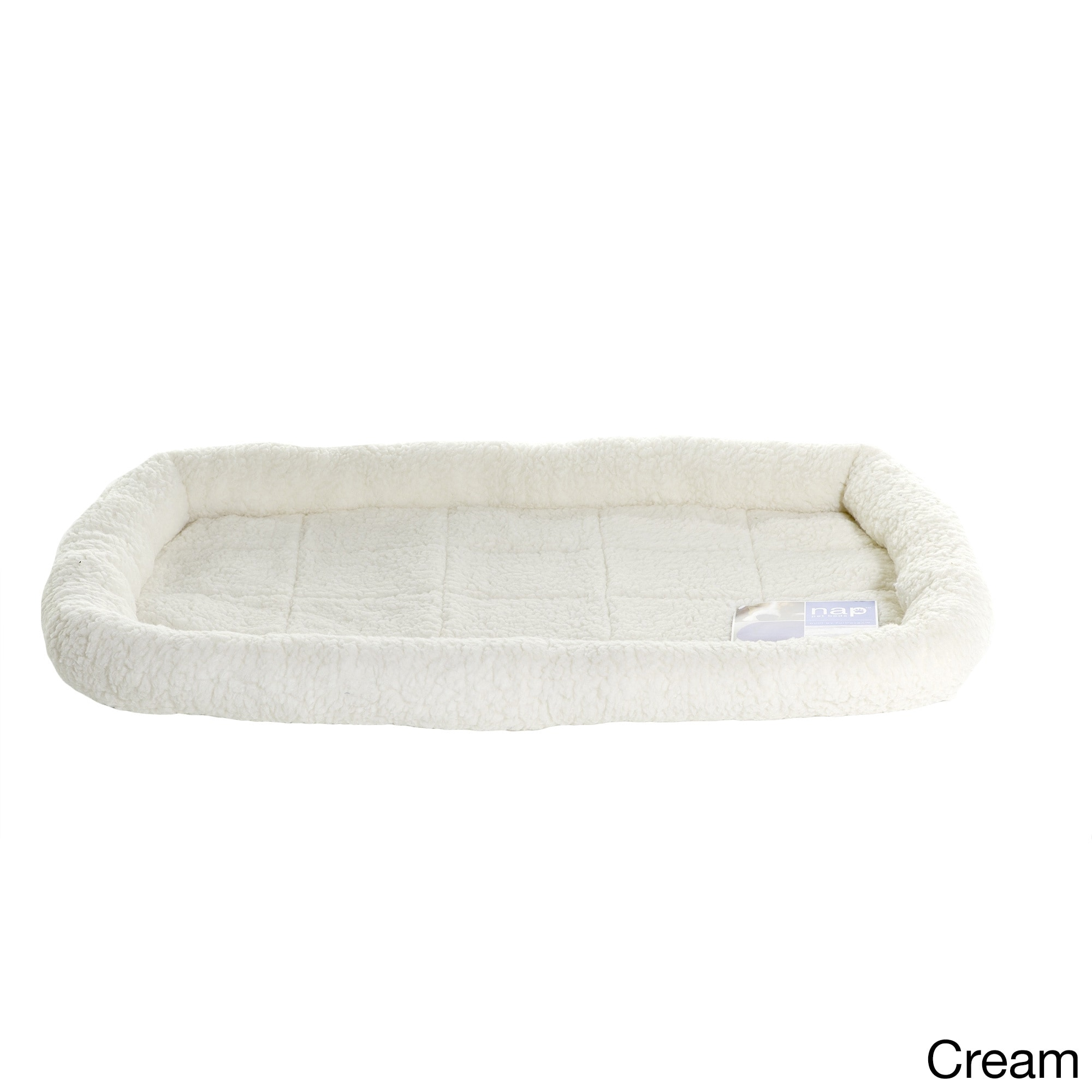 FurHaven NAP Faux Lambswool Crate Bolster Dog Bed (Off-Wh...