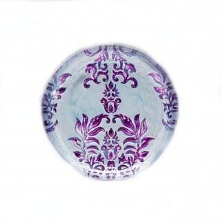 Damask Two-tone Purple Glass Canape Plate