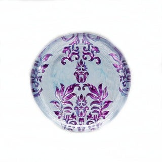 Damask Two-tone Purple Glass Canape Plate  sc 1 st  Overstock & Floral Plates For Less | Overstock.com