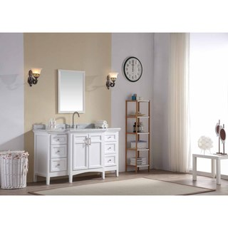 Ari Kitchen and Bath Luz White 60-inch Single Bathroom Vanity Set