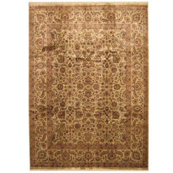 Handmade Herat Oriental Indo Kashan Wool Rug - 9'1 x 12'7 (India)