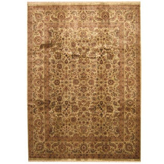 Herat Oriental Indo Hand-knotted Kashan Wool Rug (9'1 x 12'7)