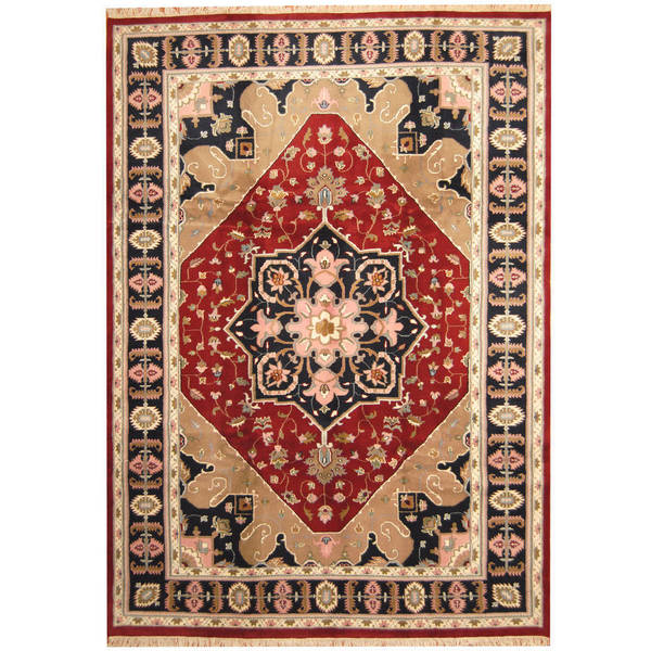 Herat Oriental Indo Hand-knotted Heriz Wool Rug (9'6 x 13'4) - 9'6 x 13'4