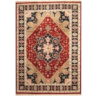 Herat Oriental Indo Hand-knotted Heriz Wool Rug (9'6 x 13'4)