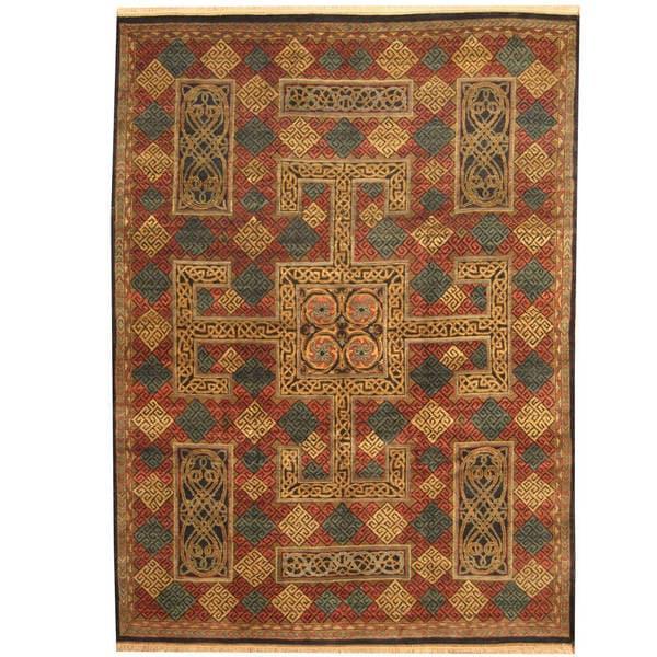 Handmade Herat Oriental Indo William Morris Wool Area Rug - 9' x 12'3 (India)