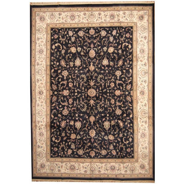 Herat Oriental Indo Hand-knotted Kashan Wool Rug (10' x 14') - 10' x 14'