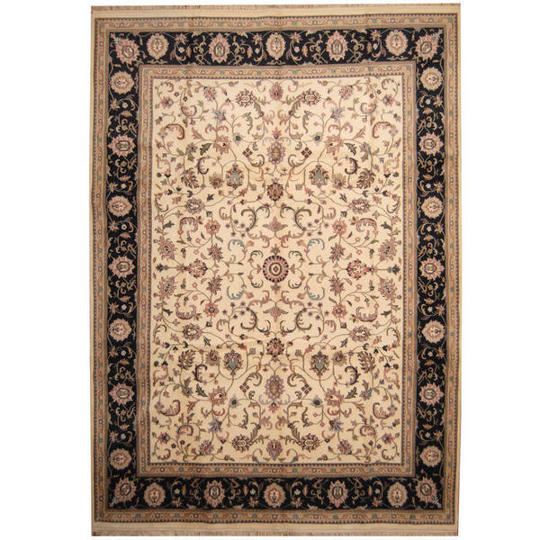 Handmade Herat Oriental Indo Kashan Ivory/ Navy Wool Rug - 10' x 14' (India)