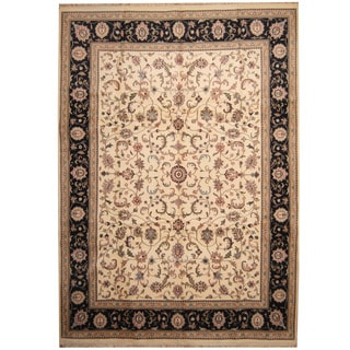 Herat Oriental Indo Hand-knotted Kashan Ivory/ Navy Wool Rug (10' x 14')