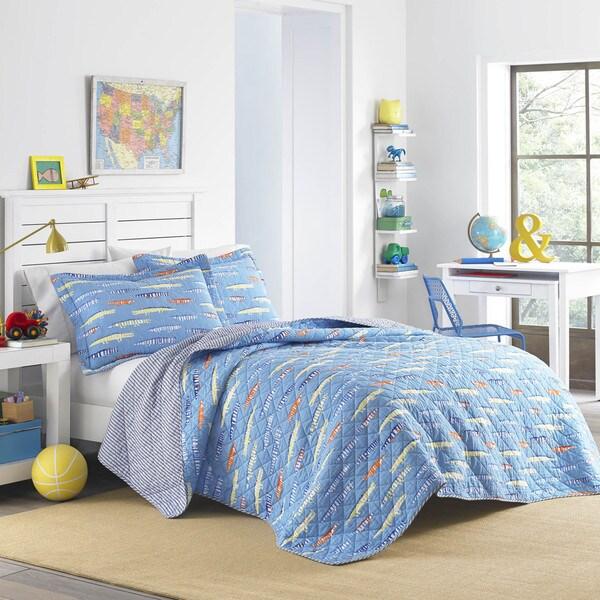 Laura Ashley Alligators Cotton Reversible 3-piece Quilt Set