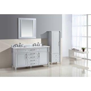 Ari Kitchen and Bath Ani Grey Wood and Marble 60-inch Double Bathroom Vanity Set