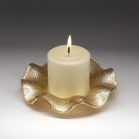 Red Pomegranate Ruffle Textured Goldtone Glass Canape Plate with Candle