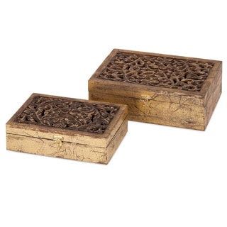 Mazie Carved Wood Boxes (Set of 2)