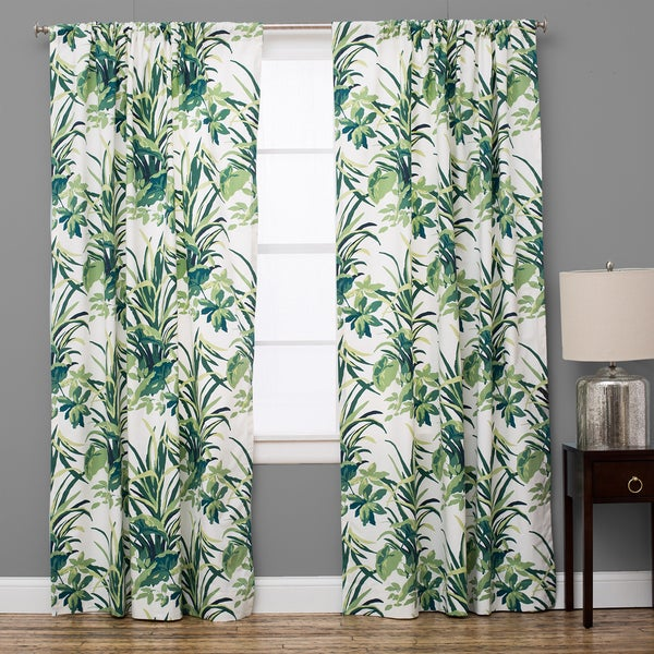 Shop Bermuda Cotton Palm Leaf Green Curtain Panel On