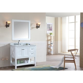 Ari Kitchen and Bath Emily White 36-inch Single Bathroom Vanity Set With Mirror