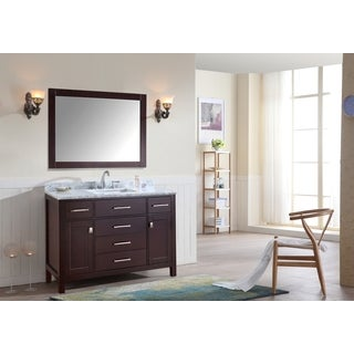 Ari Kitchen and Bath Bella Espresso Wood and Marble 48-inch Single Bathroom Vanity Set With Mirror