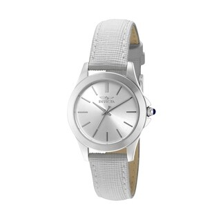 Invicta Angel White Genuine Leather Silvertone Dial Women's Watch